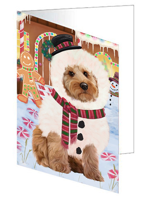 Christmas Gingerbread House Candyfest Cockapoo Dog Note Card NCD73454