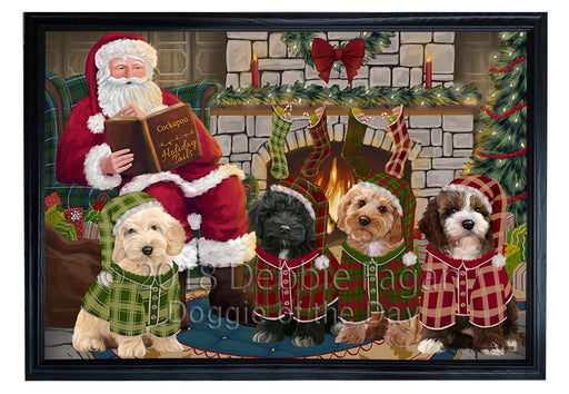 Christmas Cozy Holiday Tails Cockapoos Dog Framed Canvas Print Wall Art FCVS174055