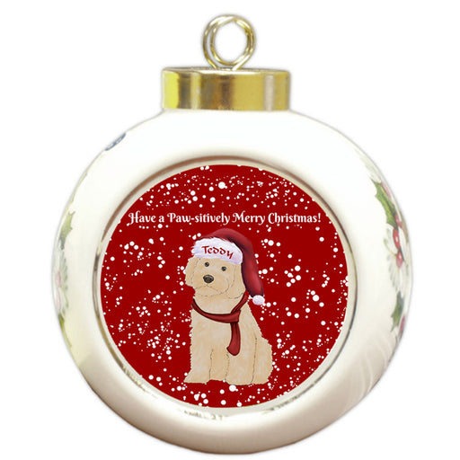 Custom Personalized Pawsitively Cockapoo Dog Merry Christmas Round Ball Ornament
