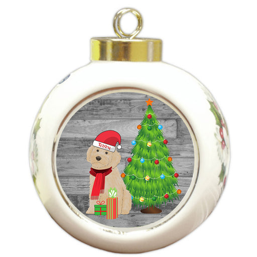 Custom Personalized Cockapoo Dog With Tree and Presents Christmas Round Ball Ornament