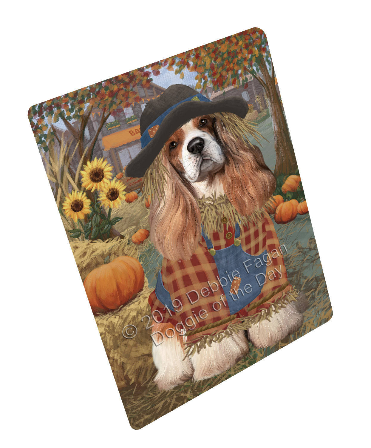 Halloween 'Round Town And Fall Pumpkin Scarecrow Both Cocker Spaniel Dogs Large Refrigerator / Dishwasher Magnet RMAG104742