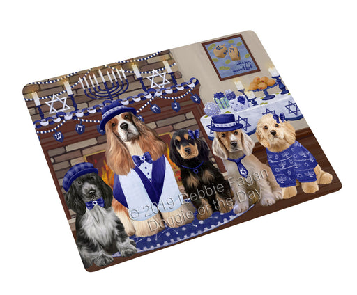 Happy Hanukkah Family and Happy Hanukkah Both Cocker Spaniel Dogs Large Refrigerator / Dishwasher Magnet RMAG105444
