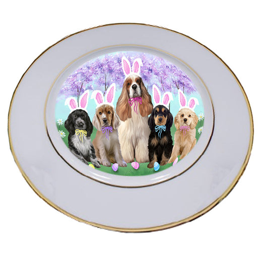 Easter Holiday Cocker Spaniel Dog Porcelain Plate PLT55287