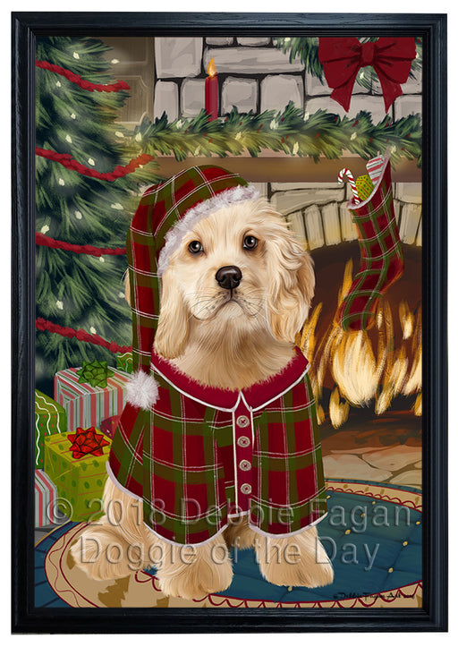 The Stocking was Hung Cocker Spaniel Dog Framed Canvas Print Wall Art FCVS176877