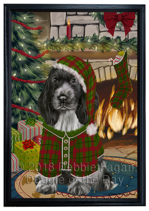 The Stocking was Hung Cocker Spaniel Dog Framed Canvas Print Wall Art FCVS176894