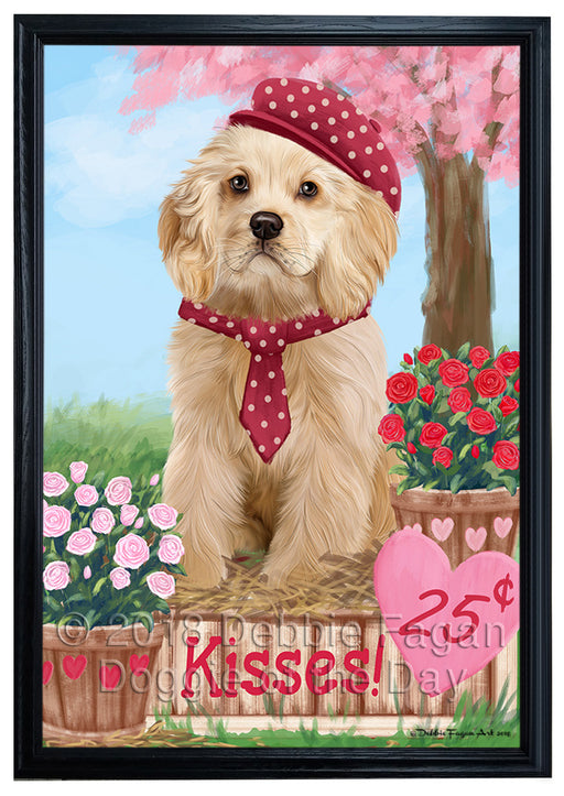 Rosie 25 Cent Kisses Cocker Spaniel Dog Framed Canvas Print Wall Art FCVS186499