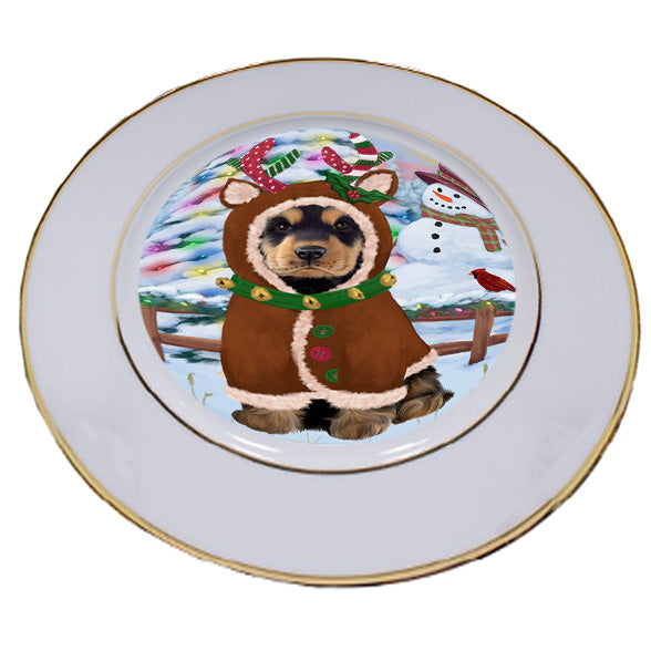 Christmas Gingerbread House Candyfest Cocker Spaniel Dog Porcelain Plate PLT54664