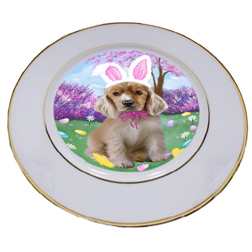 Easter Holiday Cocker Spaniels Dog Porcelain Plate PLT55288