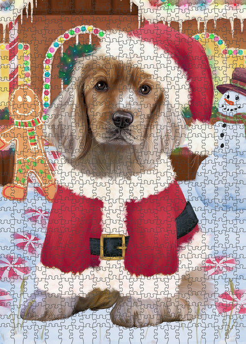 Christmas Gingerbread House Candyfest Cocker Spaniel Dog Puzzle with Photo Tin PUZL93464