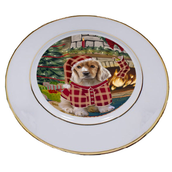 The Stocking was Hung Cocker Spaniel Dog Porcelain Plate PLT53635