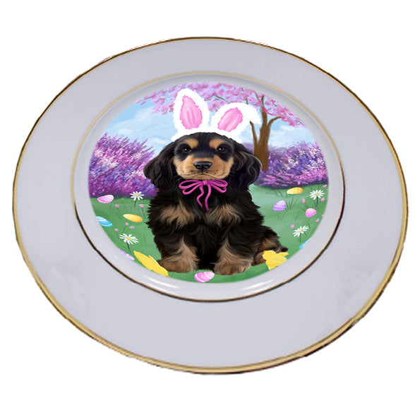Easter Holiday Cocker Spaniel Dog Porcelain Plate PLT55289