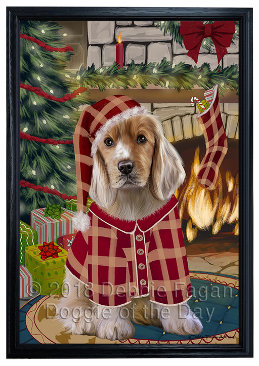 The Stocking was Hung Cocker Spaniel Dog Framed Canvas Print Wall Art FCVS176911