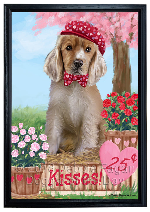 Rosie 25 Cent Kisses Cocker Spaniel Dog Framed Canvas Print Wall Art FCVS186516
