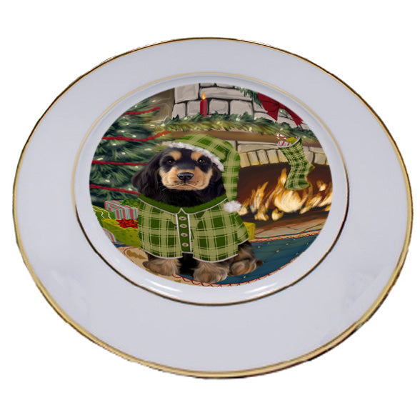 The Stocking was Hung Cocker Spaniel Dog Porcelain Plate PLT53636