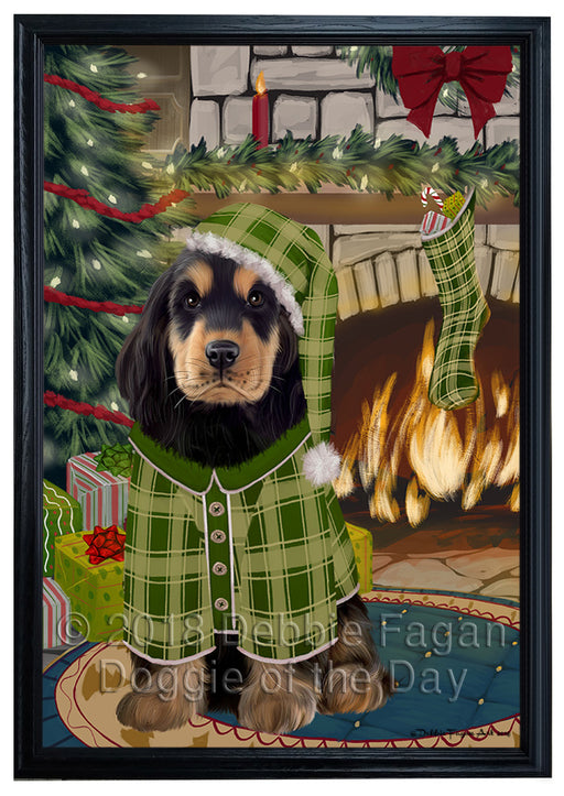 The Stocking was Hung Cocker Spaniel Dog Framed Canvas Print Wall Art FCVS176928
