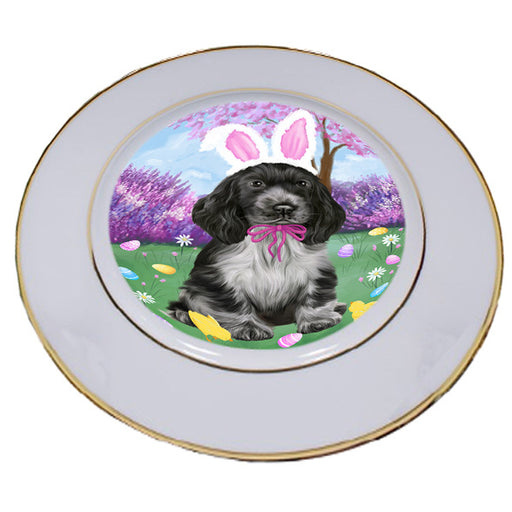 Easter Holiday Cocker Spaniel Dog Porcelain Plate PLT55291