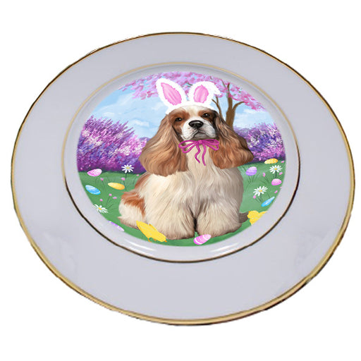 Easter Holiday Cocker Spaniel Dog Porcelain Plate PLT55292