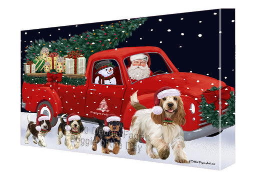 Christmas Express Delivery Red Truck Running Cocker Spaniel Dogs Canvas Print Wall Art Décor CVS146024