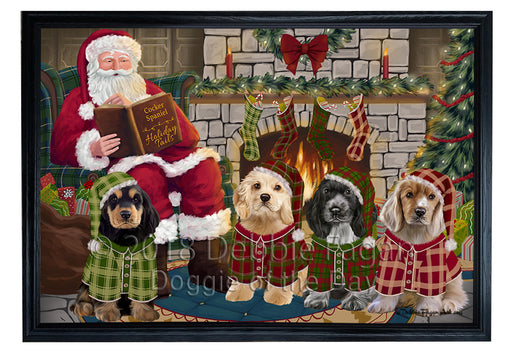 Christmas Cozy Holiday Tails Cocker Spaniels Dog Framed Canvas Print Wall Art FCVS174072