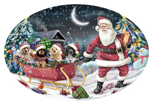 Santa Sled Dogs Christmas Happy Holidays Cocker Spaniels Dog Oval Envelope Seals OVE62868