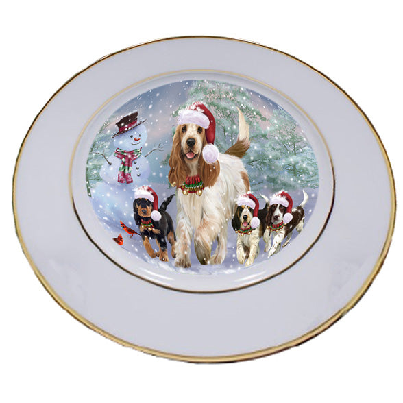 Christmas Running Family Cocker Spaniels Dog Porcelain Plate PLT53816