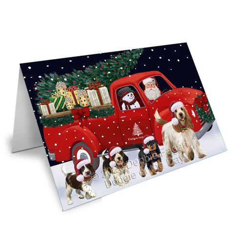 Christmas Express Delivery Red Truck Running Cocker Spaniel Dogs Greeting Card GCD75116