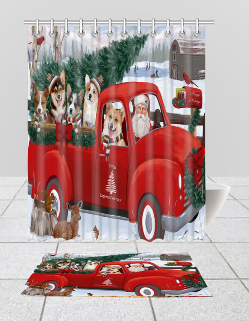 Christmas Santa Express Delivery Red Truck Corgi Dogs Bath Mat and Shower Curtain Combo