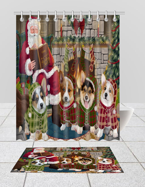 Christmas Cozy Holiday Fire Tails Corgi Dogs Bath Mat and Shower Curtain Combo