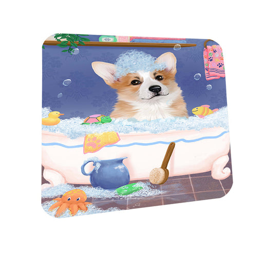 Rub A Dub Dog In A Tub Corgi Dog Coasters Set of 4 CST57318