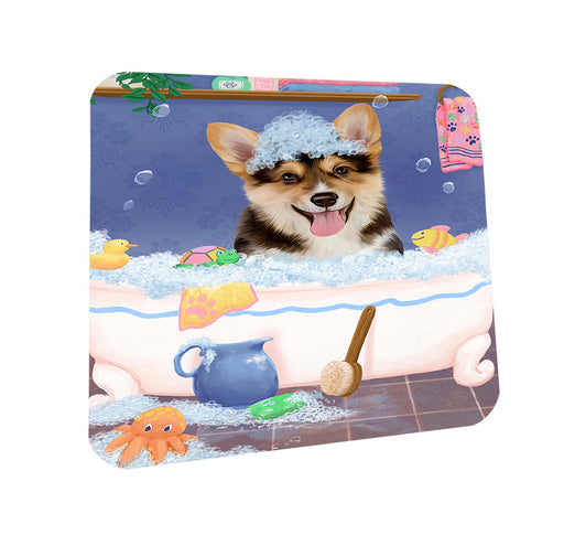 Rub A Dub Dog In A Tub Corgi Dog Coasters Set of 4 CST57319
