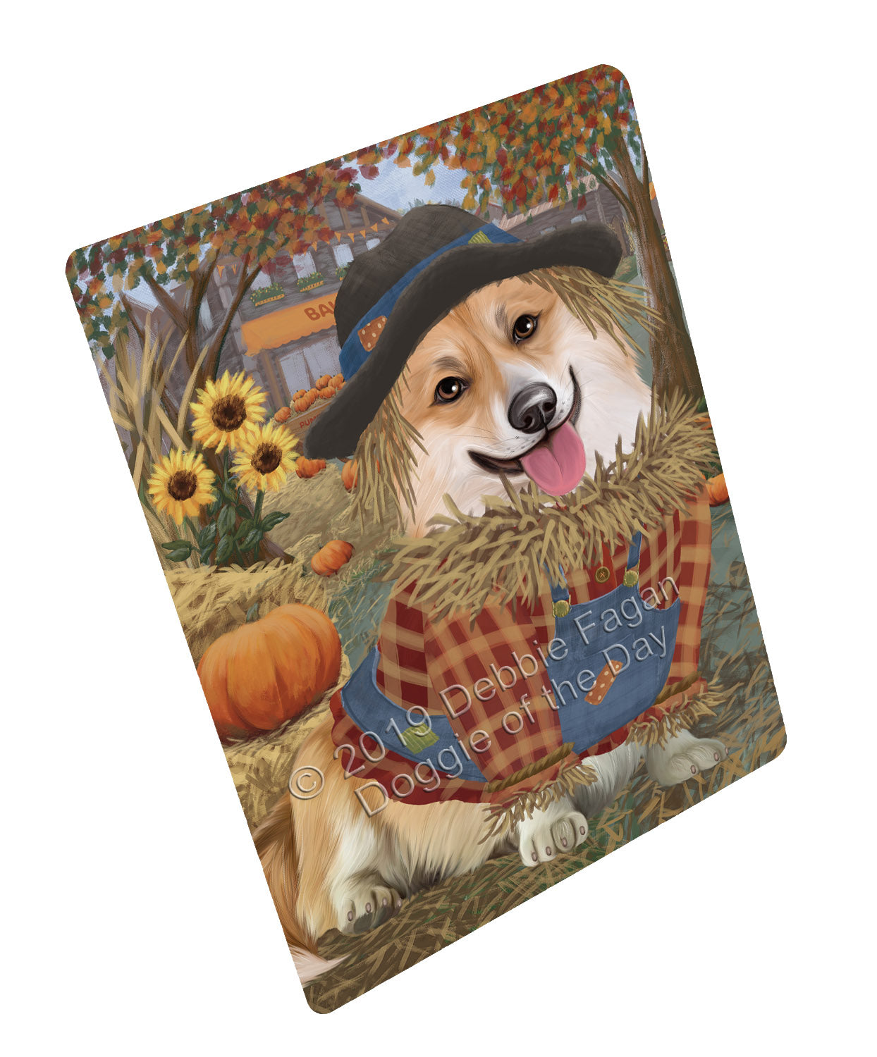 Halloween 'Round Town And Fall Pumpkin Scarecrow Both Corgi Dogs Large Refrigerator / Dishwasher Magnet RMAG104748