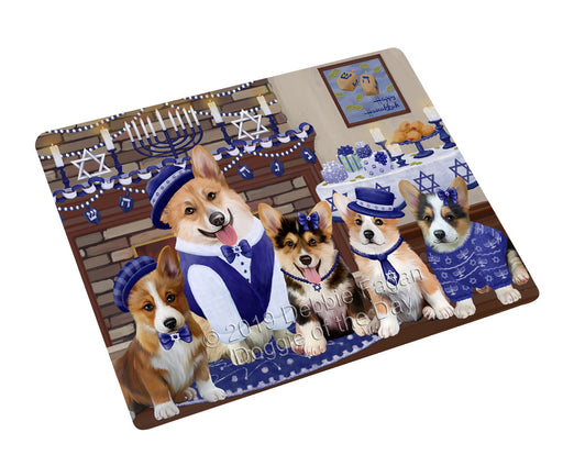 Happy Hanukkah Family and Happy Hanukkah Both Corgi Dogs Large Refrigerator / Dishwasher Magnet RMAG105450