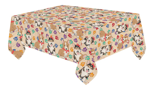 Rainbow Paw Print Corgi Dogs Red Cotton Linen Tablecloth