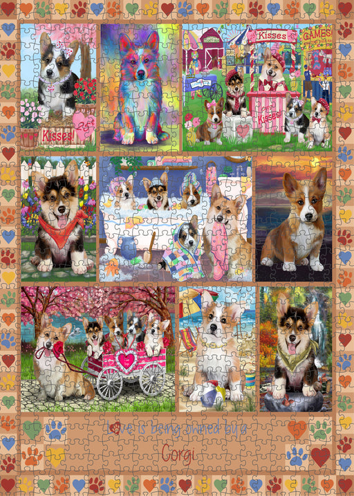 Love is Being Owned Corgi Dog Beige Puzzle with Photo Tin PUZL98404
