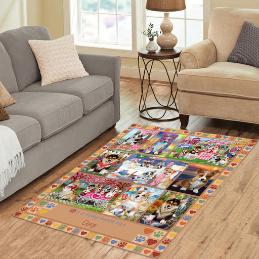 Love is Being Owned Corgi Dog Beige Area Rug