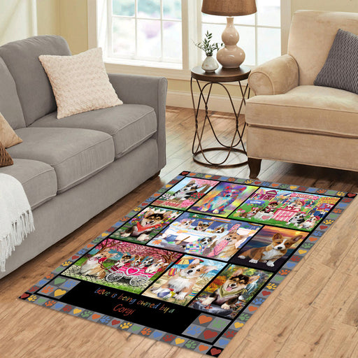 Love is Being Owned Corgi Dog Grey Area Rug
