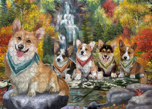 Scenic Waterfall Corgis Dog Puzzle with Photo Tin PUZL52929
