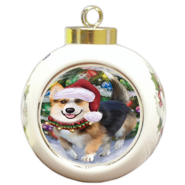 Trotting in the Snow Corgi Dog Round Ball Christmas Ornament RBPOR54692