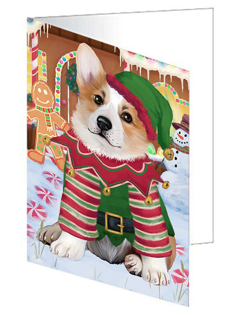 Christmas Gingerbread House Candyfest Corgi Dog Note Card NCD73469