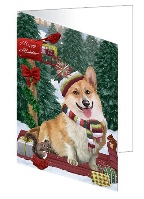 Merry Christmas Woodland Sled Corgi Dog Note Card NCD69260
