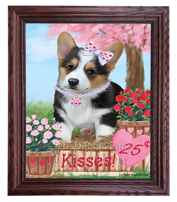 Rosie 25 Cent Kisses Corgi Dog Framed Canvas Print Wall Art FCVS186550