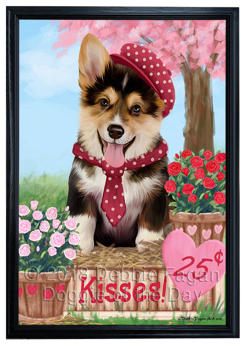 Rosie 25 Cent Kisses Corgi Dog Framed Canvas Print Wall Art FCVS186567