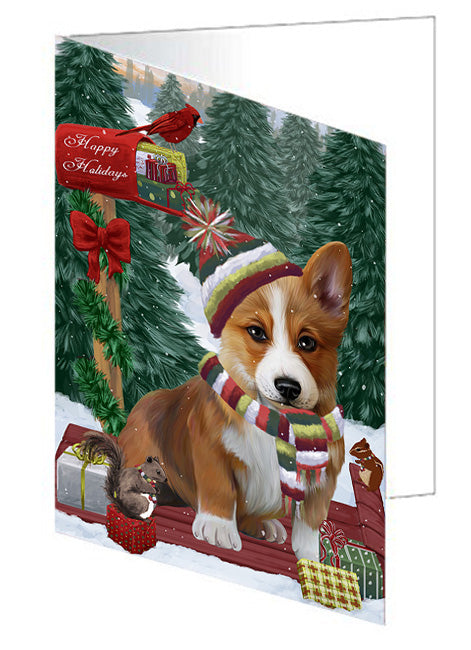 Merry Christmas Woodland Sled Corgi Dog Note Card NCD69263