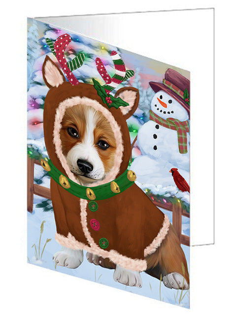 Christmas Gingerbread House Candyfest Corgi Dog Note Card NCD73472