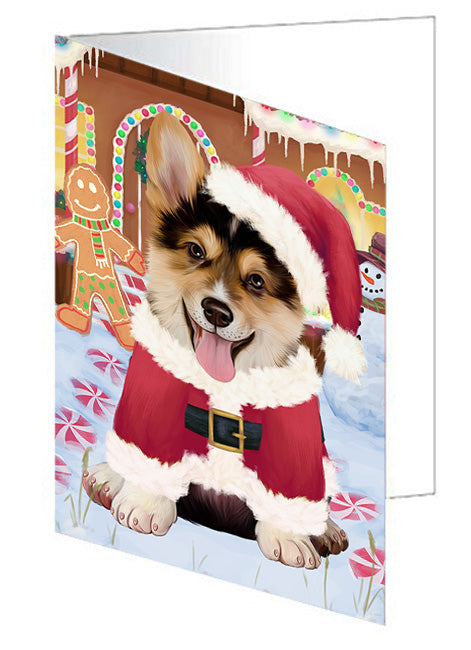 Christmas Gingerbread House Candyfest Corgi Dog Note Card NCD73475