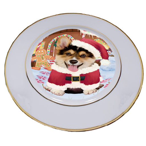 Christmas Gingerbread House Candyfest Corgi Dog Porcelain Plate PLT54669