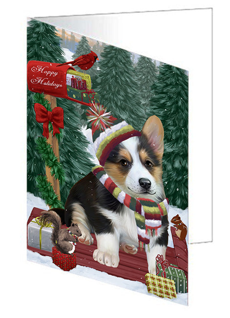 Merry Christmas Woodland Sled Corgi Dog Note Card NCD69266
