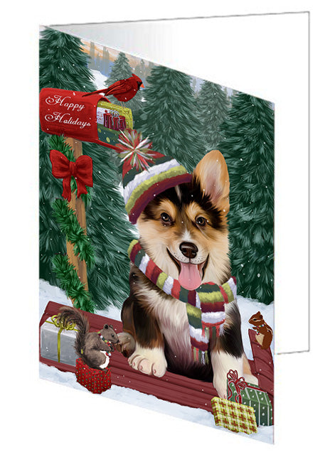 Merry Christmas Woodland Sled Corgi Dog Note Card NCD69269