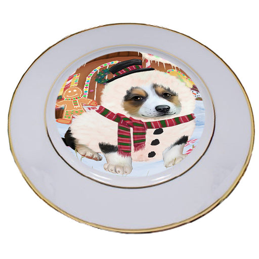 Christmas Gingerbread House Candyfest Corgi Dog Porcelain Plate PLT54670