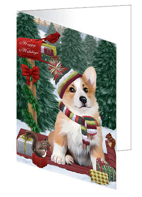 Merry Christmas Woodland Sled Corgi Dog Note Card NCD69272